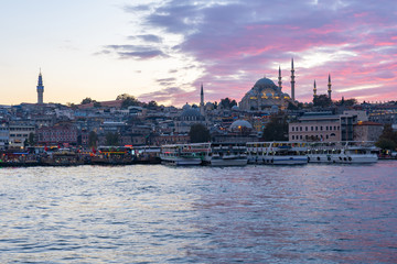 Wall Mural - Istanbul city skyline and port of Istanbul in Turkey
