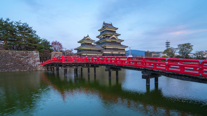 Wall Mural - Matsumoto Castle the famous place at twilight in Nagano, Japan