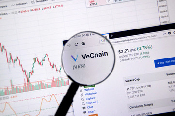 Vechain price under magnifying glass.