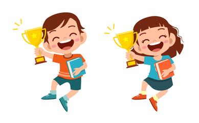 happy cute kids win game gold trophy