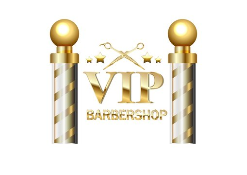 Realistic vector - two gold old fashioned vintage glass barber shop poles Barber Sign.
