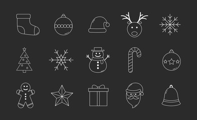 Collection of Christmas icons. Xmas elements. Vector