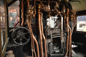 The interior of a steam locomotive