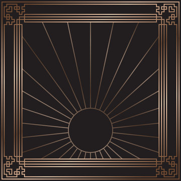 Vector card. Art Deco style. Dark golden geometric frame on black background. Art Deco rising sun. Luxury pattern. Minimal design.