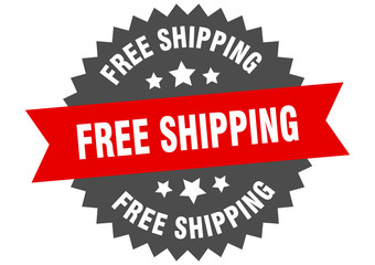 free shipping sign. free shipping red-black circular band label Wall mural