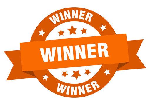 winner ribbon. winner round orange sign. winner
