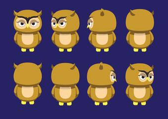 Owl Spinning Head Character Animation Cartoon Vector Illustration