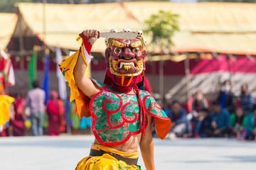 インド、ブッダガヤにあるブータン寺院でのチベット仏教の踊り、マスクダンス