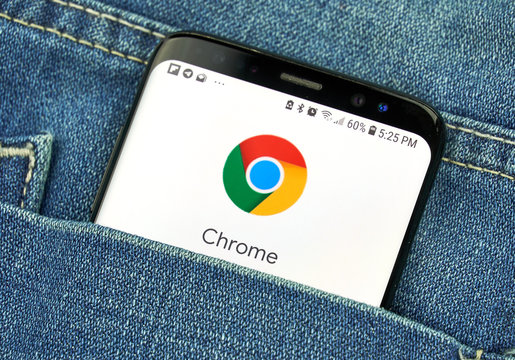 Google Chrome on a phone screen in a pocket