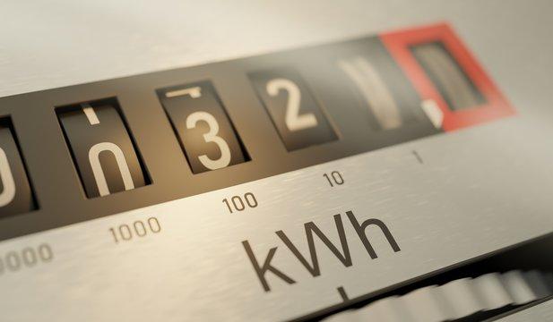 Analog electrometer is measuring electricity consumption. 3D ren