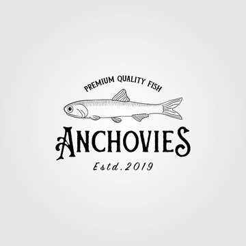 anchovies anchovy fish vintage logo label emblem packaging vector icon seafood design
