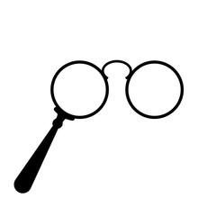 Old lorgnette glasses vector icon