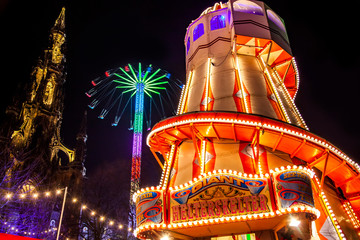 EDINBURGH, SCOTLAND - 4 January, 2019: Christmas market and Scott Monument in Edinburgh