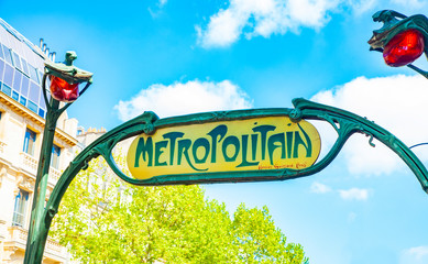 PARIS, FRANCE - 20 May 2019: Metropolitain sign in Paris, Art Nouveau symbol by Hector Guimard