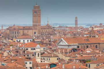 Aerial view of San Barnaba church and Frari Basilica, Venice, Italy
