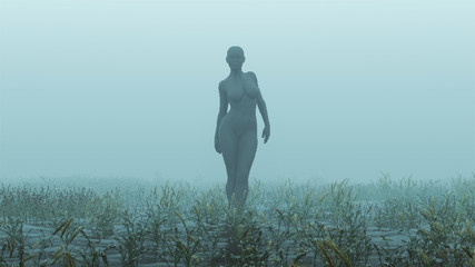 Advanced Black Shape Shifting Alien Being Formed From Small Spheres Walking in a Foggy Watery Void with Reeds and Grass background Front View  3d illustration 3d render