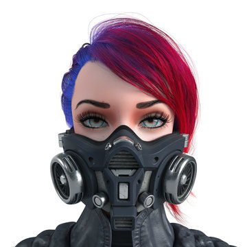 3d illustration of a front view of a cyberpunk girl with short red hair and blue eyes wearing futuristic gas mask with filters in stylish jacket isolated on white background. Concept art air pollution
