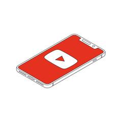 Youtube logo on iphone X display isometric outline vector illustration