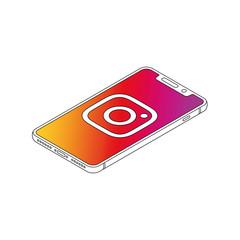 Instagram logo on iphone X display isometric outline vector illustration