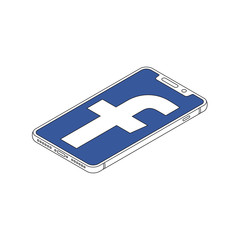 Facebook logo on iphone X display isometric outline vector illustration