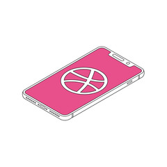 dribbble icon on iphone X display isometric outline vector illustration