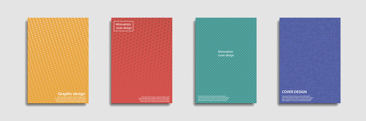 Minimal covers design. Halftone dots colorful design. Future geometric patterns. Eps10 vector.