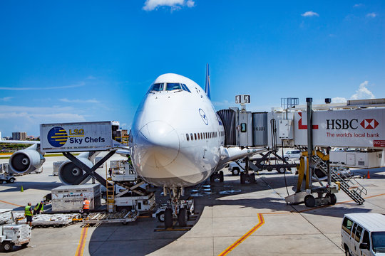 Lufthansa Boeing 747 ready for boarding at the Los Angeles international airport