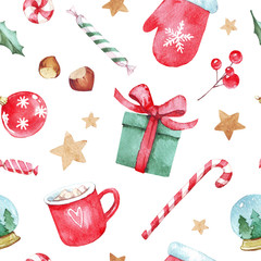 Watercolor hand drawn Christmas seamless pattern with Christmas stockings, candy canes, Christmas decorations, stars and toys on white background. Perfect for wrapping paper, textile design, print.