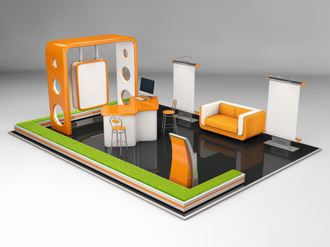 3d Illustrated unique creative exhibition stand display design with table and chair, info board, roll up