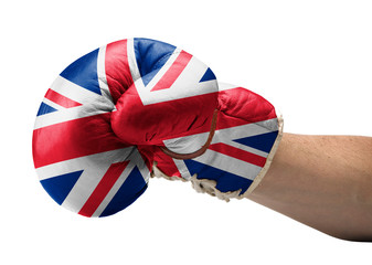 United kingdom flaged boxe gloves with arm- concept for Brexit