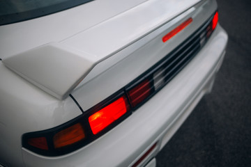 Sport car rear spoiler and taillights