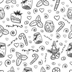 Pattern of Christmas and new year elements for your design. Coloring page or book for children and adults. - Vector. Vector illustration