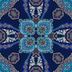 Poster Uilen cartoon Tracery seamless calming pattern. Islam, Turkish, Arabic, Indian, ottoman motifs. Ethnic colorful doodle texture. Silk scarf design. Curved doodling on dark blue background.