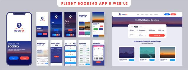 Fototapeta Online Flight booking mobile app onboarding website menu screens, Travel, Insurance, Air ticket; Holiday planning, Book your air flight. obraz