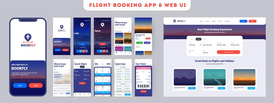 Online Flight booking mobile app onboarding website menu screens, Travel, Insurance, Air ticket; Holiday planning, Book your air flight.