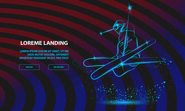 Skiing freestyle athlete in fly position with cross skis figure. Vector Sport Background for Landing Page Template.