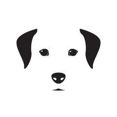 Cute dog simple design for emblem, logo, etc. Vector dog illustration.