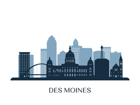 Des moines skyline, monochrome silhouette. Vector illustration.