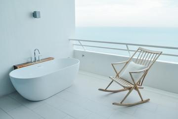 bathtub on the balcony