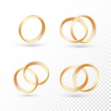 Wedding ring set of gold metal on transparent background.