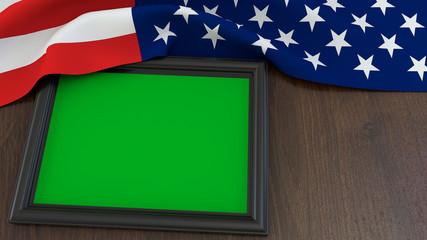 American flag green screen photo