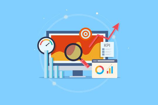 Kpi analytic, online data monitoring, key performance indicator, business success measurement, intelligent marketing metrics. Flat design vector web banner with elements.