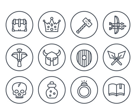 Game line icons on white set 2, armor, crossbow, chest, arrows and bow, potion, crown, war hammer, ring