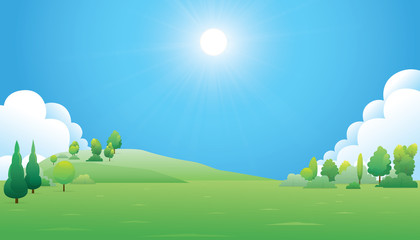 Scenery trees and green mountain landscape. Vector nature background