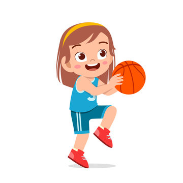 happy cute kid girl play train basketball