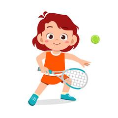 happy cute kid girl play train tennis