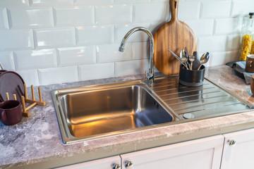 modern sink in modern kitchen