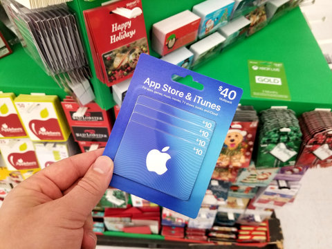 Apple gift card in a hand
