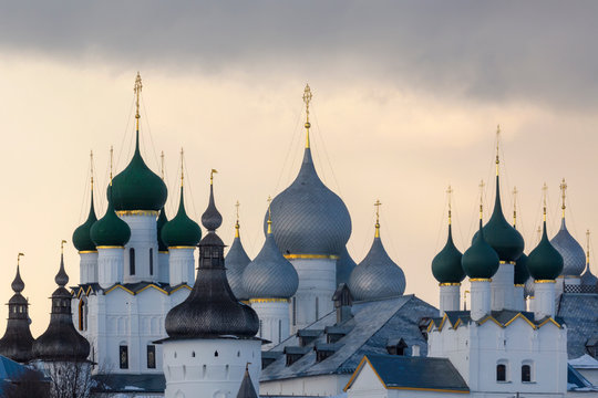 Winter view of medieval the Kremlin in Rostov the Great as part of The Golden Ring's group of medieval towns