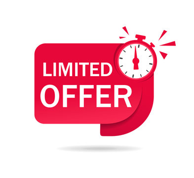 Red limited offer tag with clock for promotion, banner, price. Label countdown of time for offer sale, special deal.Alarm clock with limited offer of chance. Badge counter time promo. vector isolated